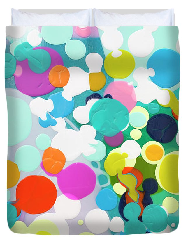 Abstract Duvet Cover featuring the painting All in the Timing by Claire Desjardins