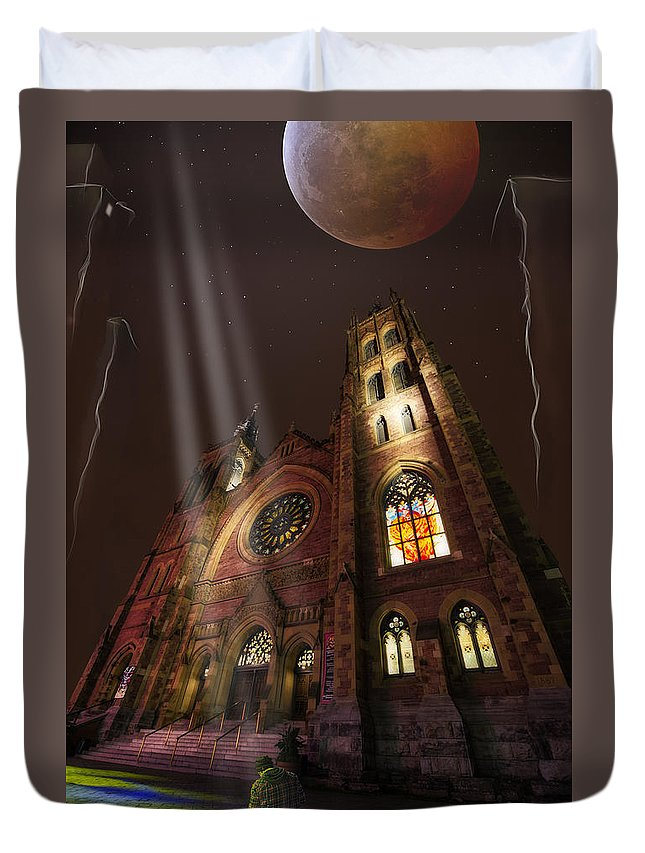 Street Art Duvet Cover featuring the photograph All Is Real Except The Church by Normand Laporte