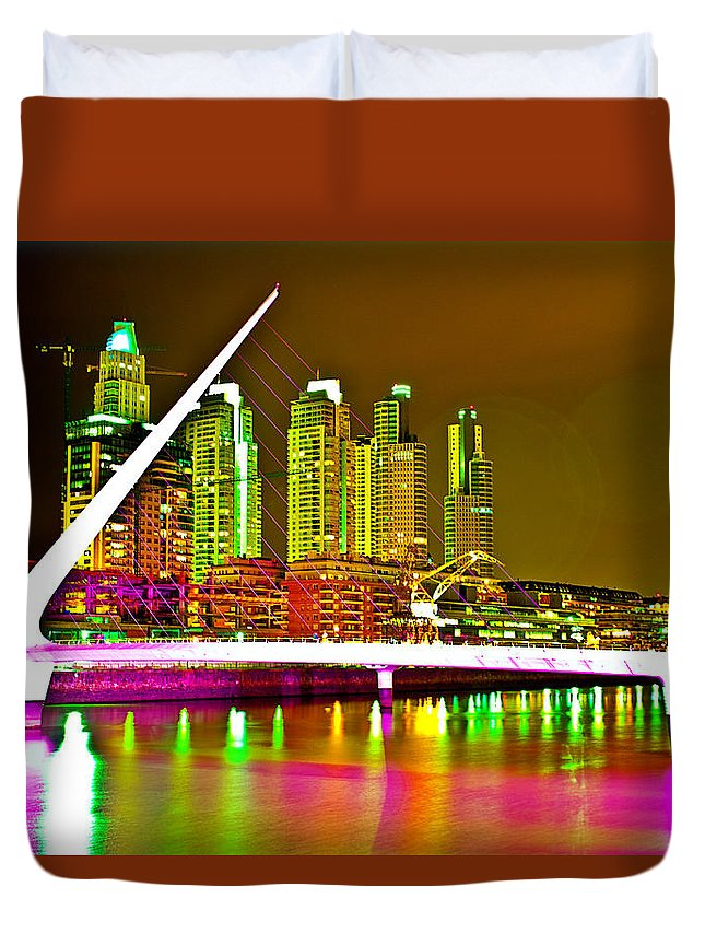 Buenos Duvet Cover featuring the photograph All Night Puerto Madero by Francisco Colon