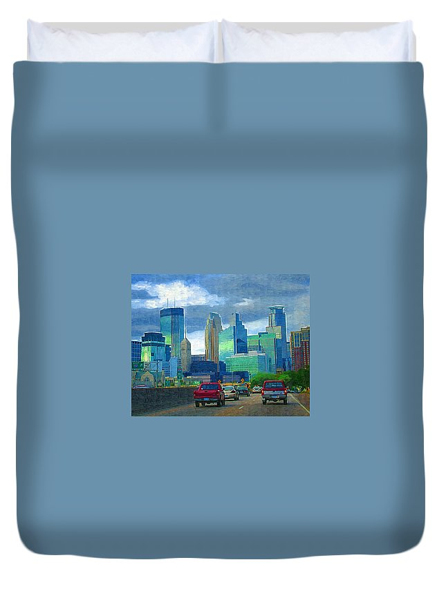 Minneapolis Duvet Cover featuring the photograph All Roads Lead To Minneapolis by Tom Reynen