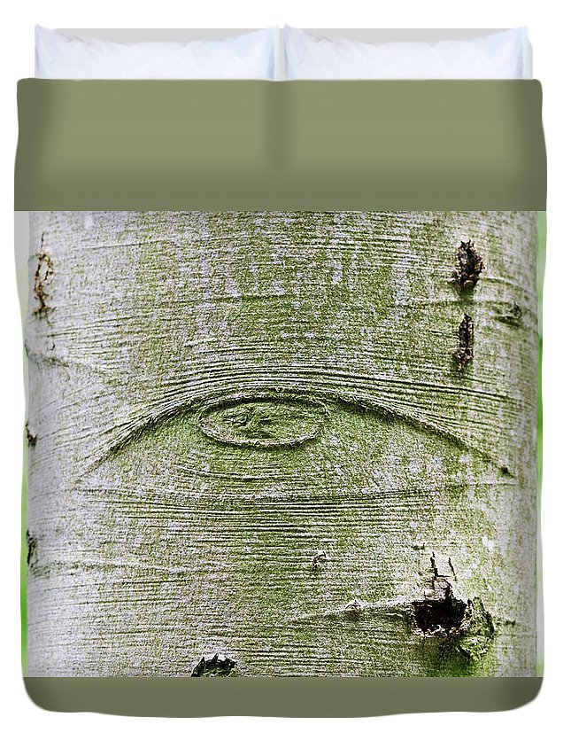 All-seeing Eye Duvet Cover featuring the photograph All-seeing Eye Of God On A Tree Bark by Peter Hermes Furian
