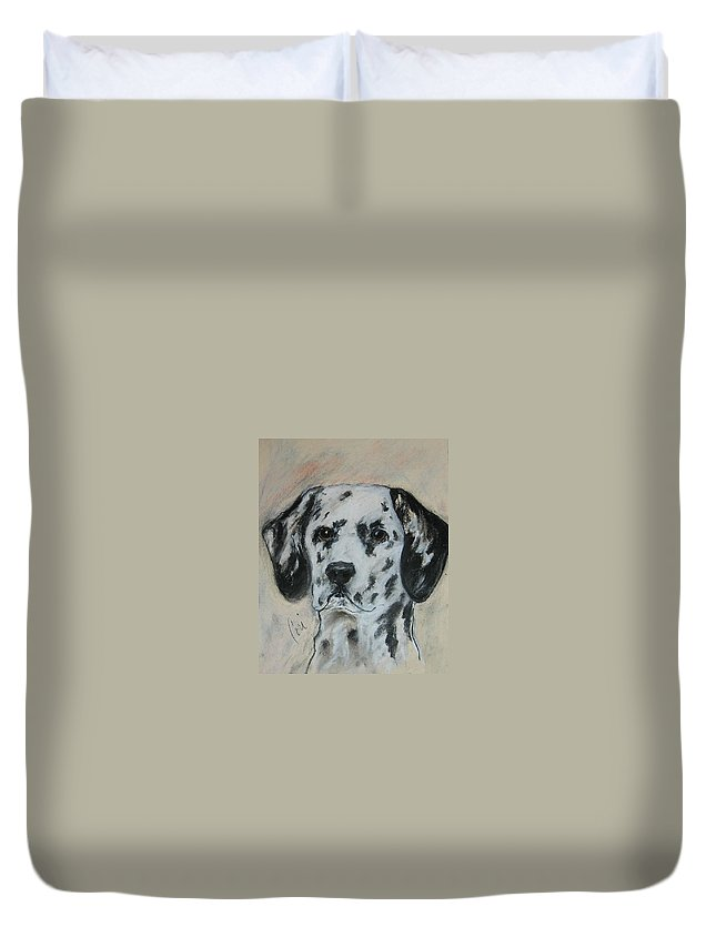 Dalmatian Duvet Cover featuring the drawing All Spots by Cori Solomon