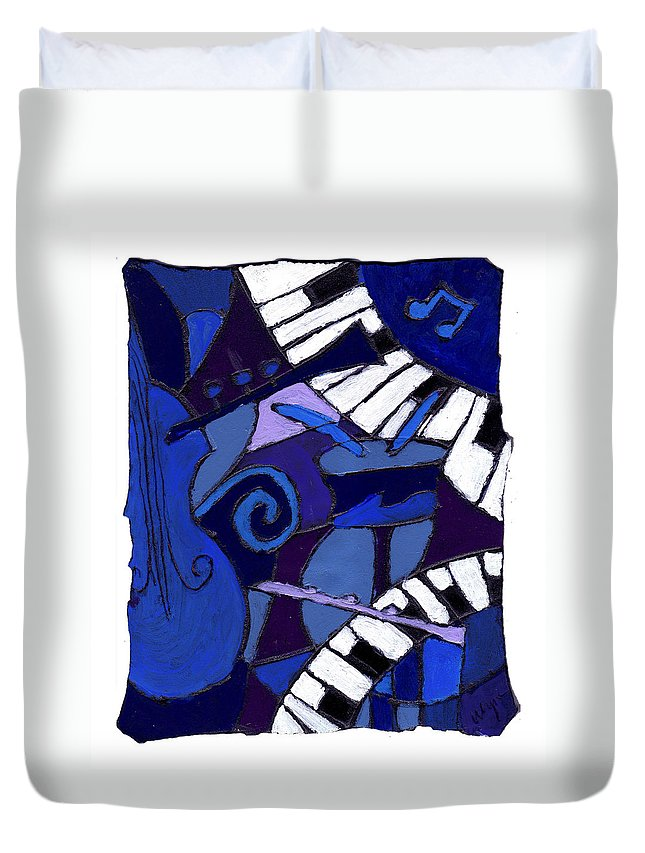 Jazz Duvet Cover featuring the painting All That Jazz 3 by Wayne Potrafka