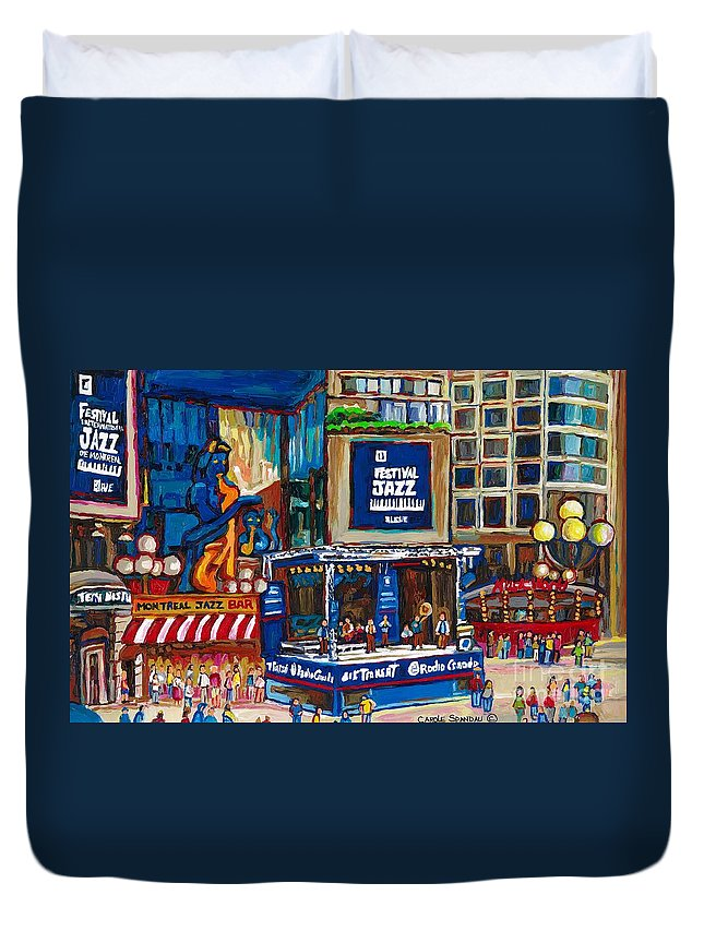 Montreal Duvet Cover featuring the painting All That Jazz by Carole Spandau