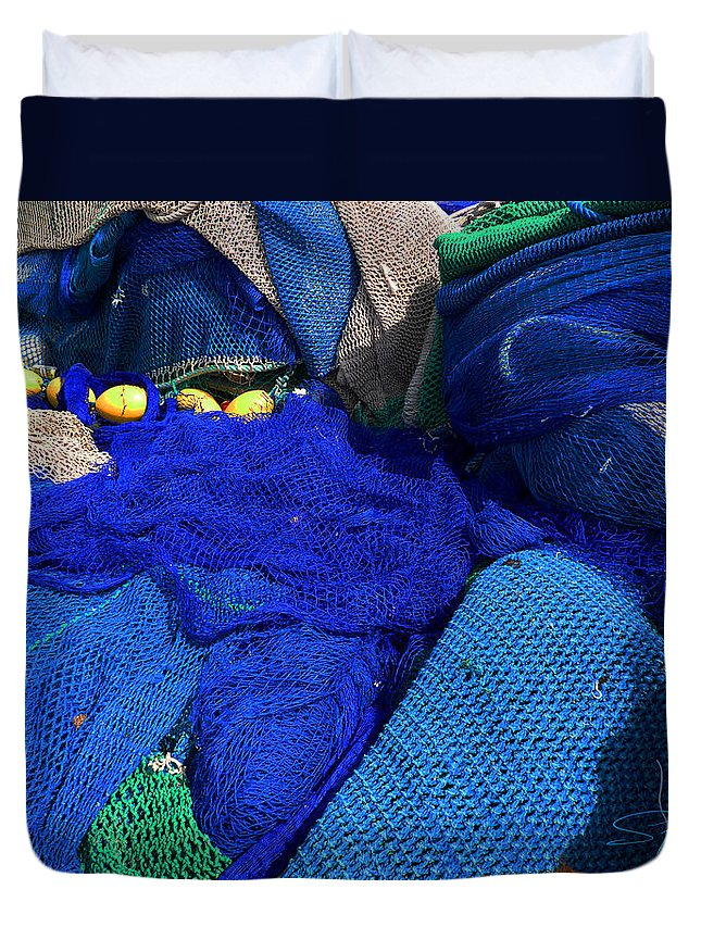 Fishing Net Duvet Cover featuring the photograph All The Blue Of The Sea by Charles Stuart