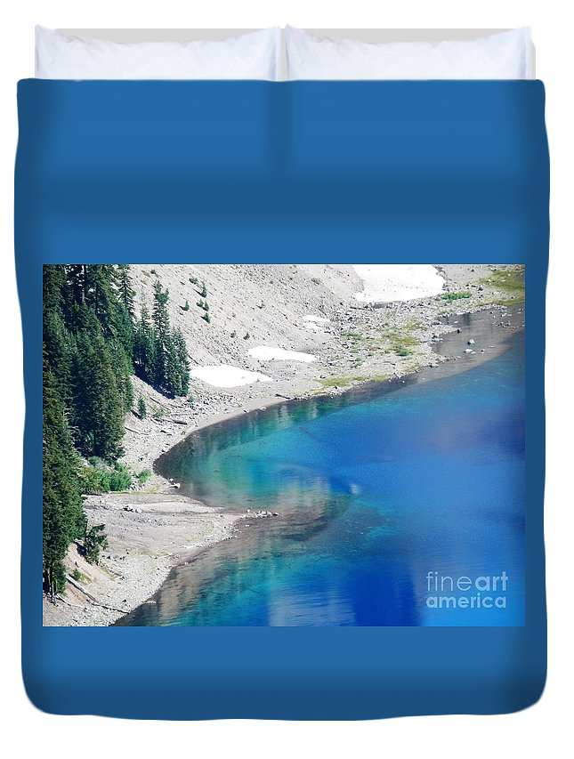 Crator Lake Oregon Duvet Cover featuring the photograph All This In The Usa by L Cecka