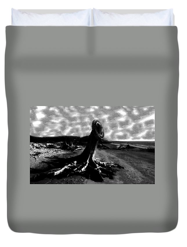 Art Duvet Cover featuring the painting All Washed Up by David Lee Thompson