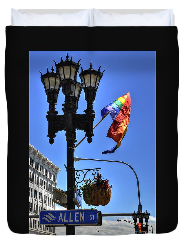 Buffalo Duvet Cover featuring the photograph Allen Pride by Michael Frank Jr