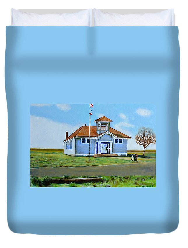 Buildings; School; Landscape; African American Community; Historical State Park; Duvet Cover featuring the painting Allensworth School by Howard Stroman