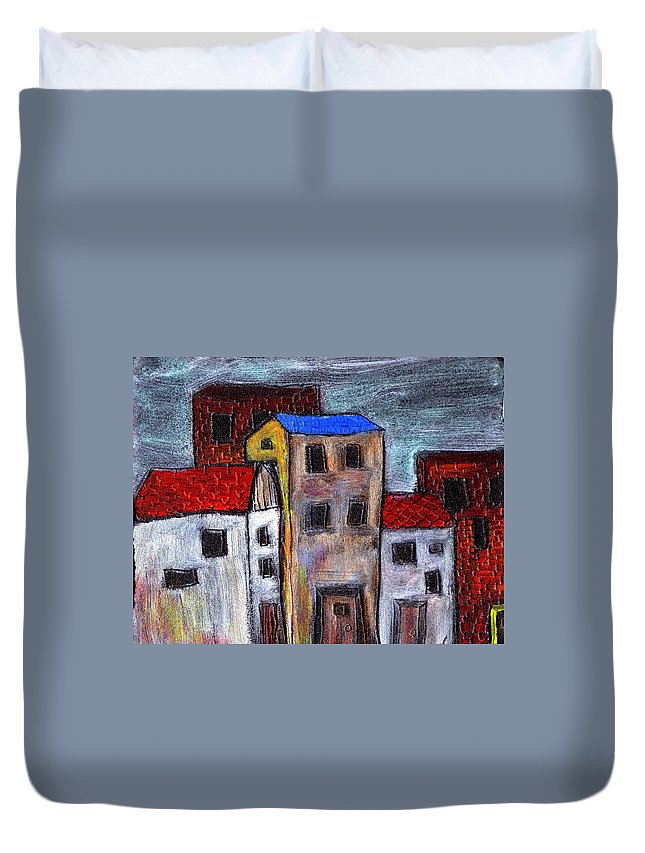City Scene Duvet Cover featuring the painting Alley Doors by Wayne Potrafka