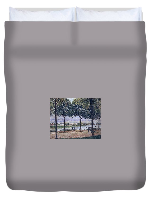 Alley Of Chestnut Trees Duvet Cover featuring the painting Alley Of Chestnut Trees by MotionAge Designs