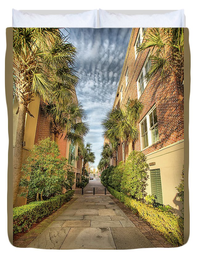Charleston Duvet Cover featuring the photograph Alleyway In Chaleston by Lynne Jenkins