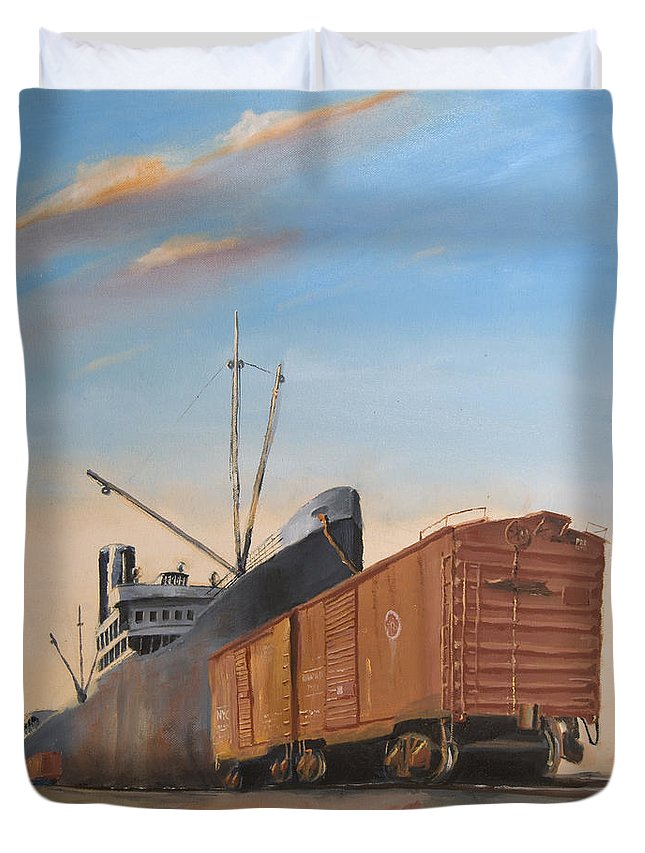 Ship Duvet Cover featuring the painting Allied Orient Lines by Christopher Jenkins