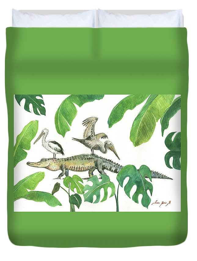 Alligator Art Duvet Cover featuring the painting Alligator And Pelicans by Juan Bosco
