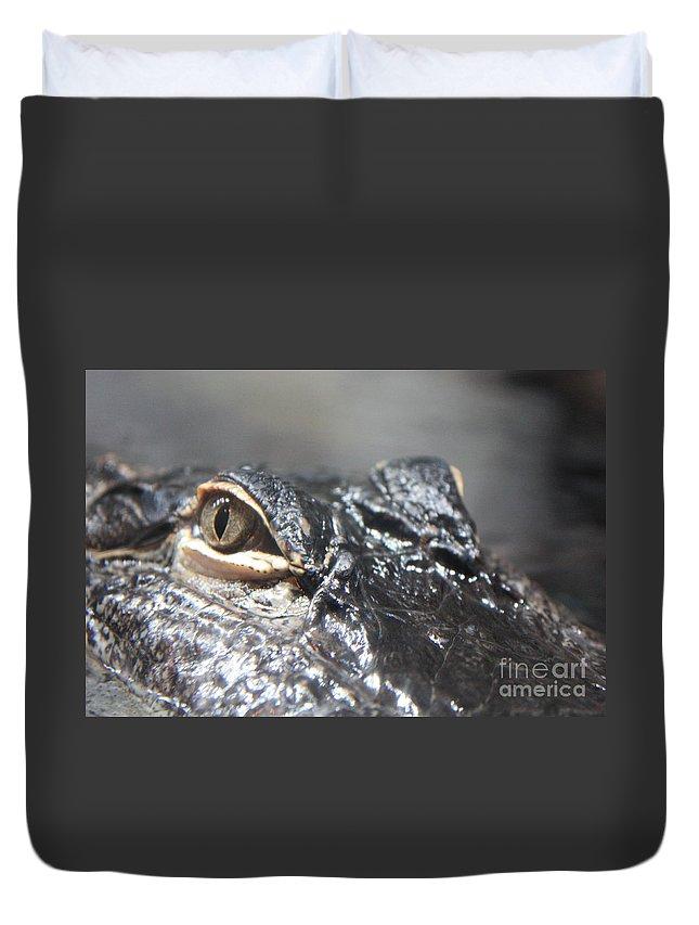 Alligator Duvet Cover featuring the photograph Alligator Eye by Carol Groenen
