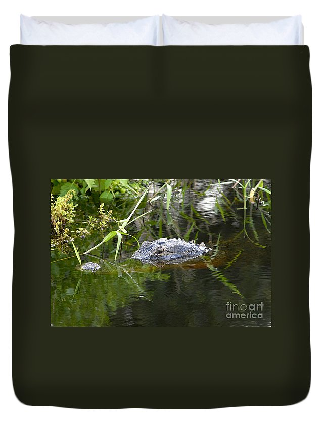 Alligator Duvet Cover featuring the photograph Alligator Hunting by David Lee Thompson