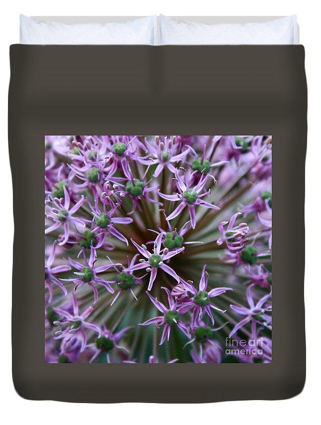 Nature Macro Duvet Cover featuring the photograph Allium Macro by Carol Groenen
