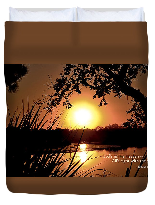 Typography Duvet Cover featuring the photograph All's Right by Jan Herren