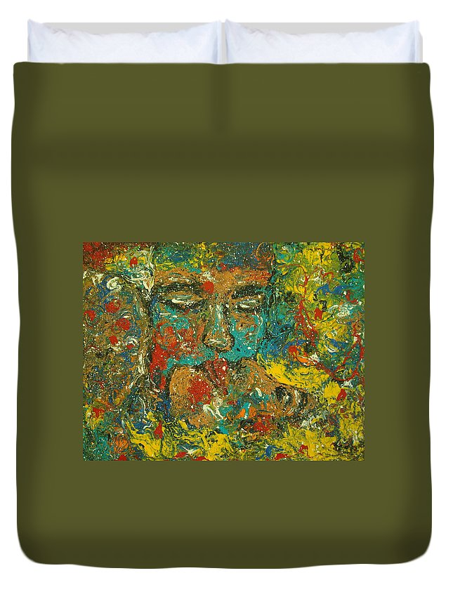 Romantic Duvet Cover featuring the painting Allure Of Love by Natalie Holland
