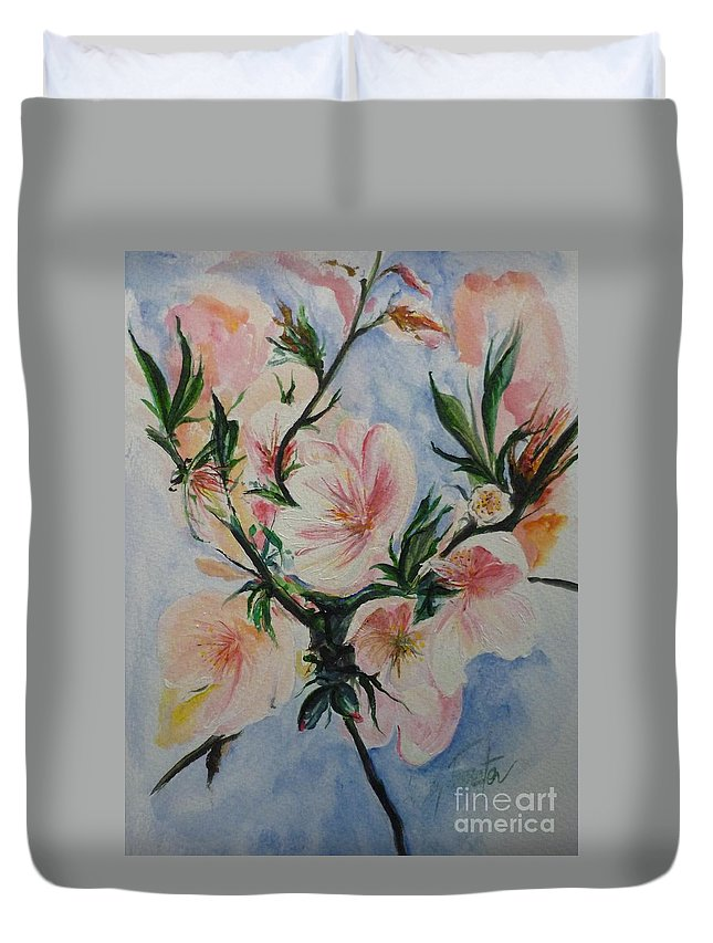 Flowers Duvet Cover featuring the painting Almond Blossom by Lizzy Forrester