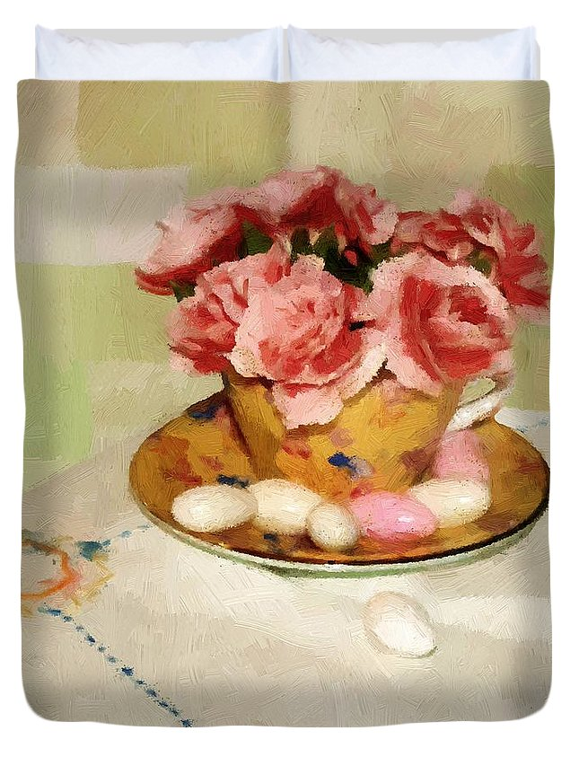 Almonds Duvet Cover featuring the painting Almond Blossom Tea by RC DeWinter