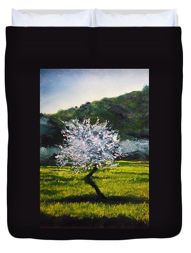 Almond Tree Duvet Cover featuring the painting Almond Tree In Blossom by Lizzy Forrester