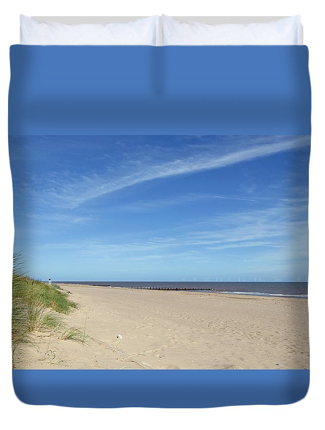 Skegness Duvet Cover featuring the photograph Almost Deserted Beach At Skegness by Rod Johnson