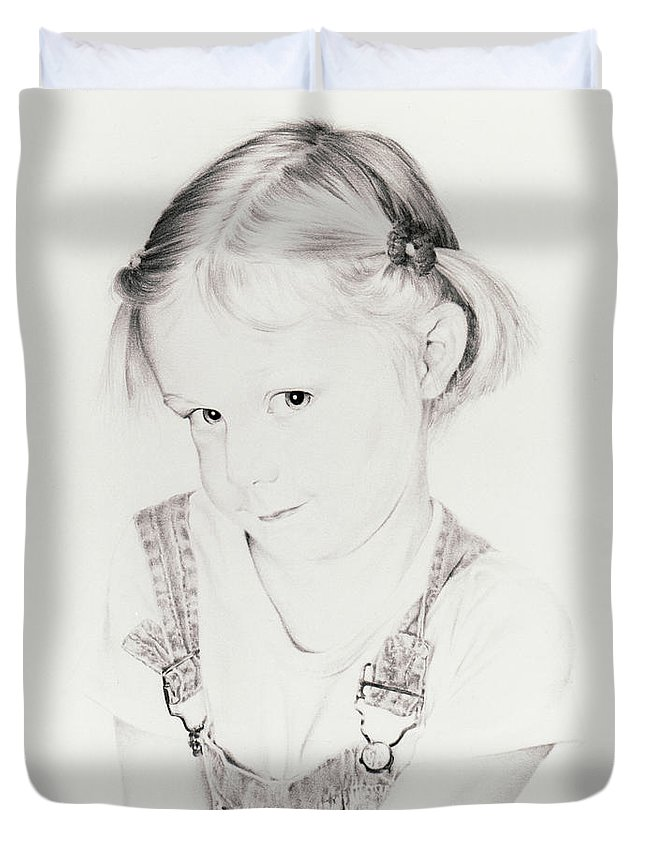 Portrait Duvet Cover featuring the drawing Almost Perfect by Rachel Christine Nowicki
