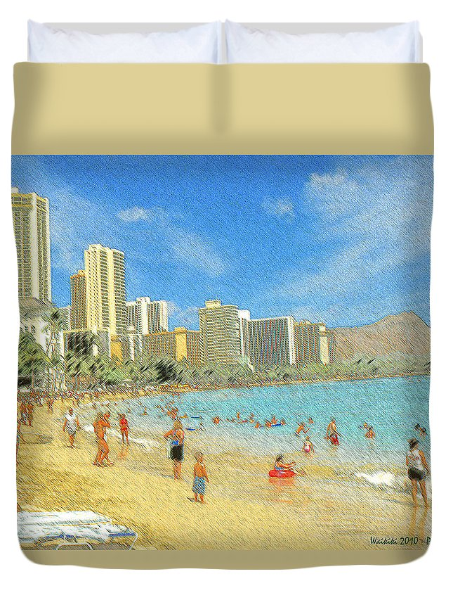 Honolulu Duvet Cover featuring the drawing Aloha From Hawaii - Waikiki Beach Honolulu by Peter Potter