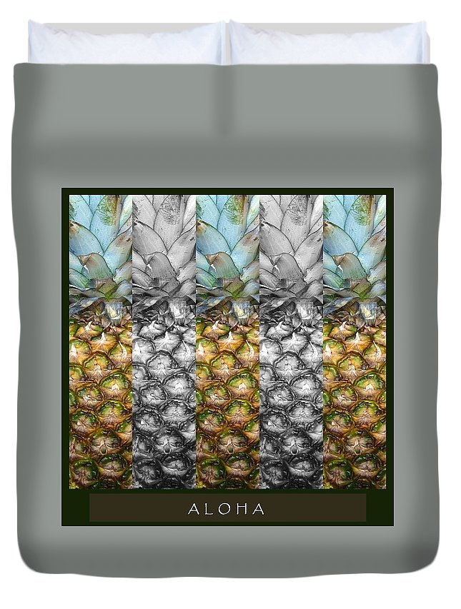 Pineapple Duvet Cover featuring the mixed media Aloha by Mary Ellen Frazee