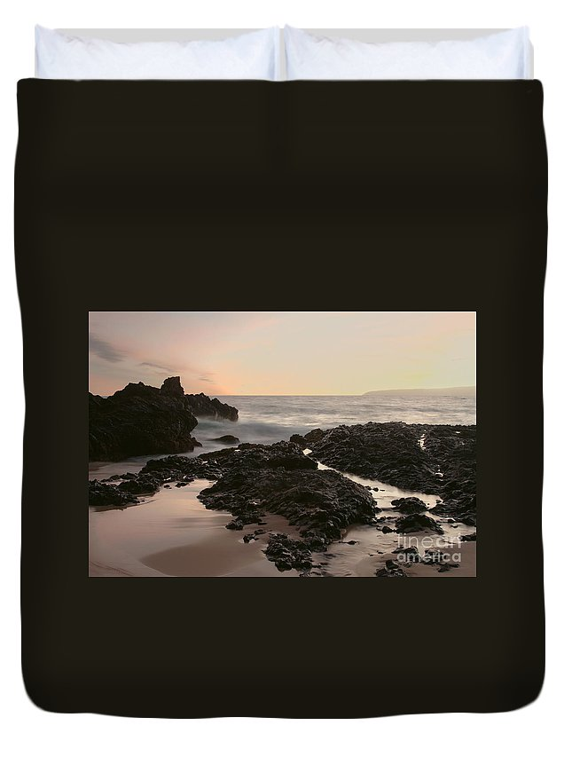 Aloha Duvet Cover featuring the photograph Aloha Paako Akahi Sunset Makena Maui Hawaii by Sharon Mau
