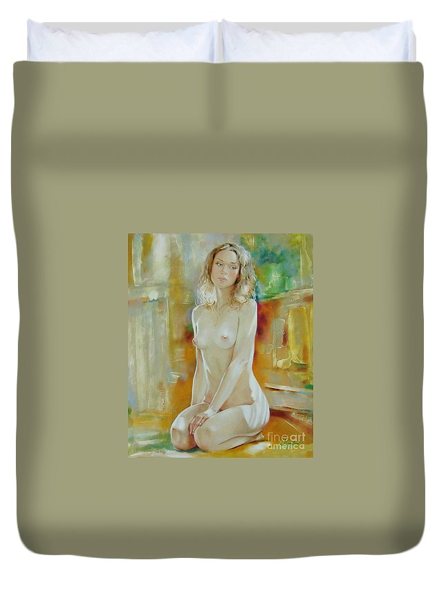 Art Duvet Cover featuring the painting Alone At Home by Sergey Ignatenko