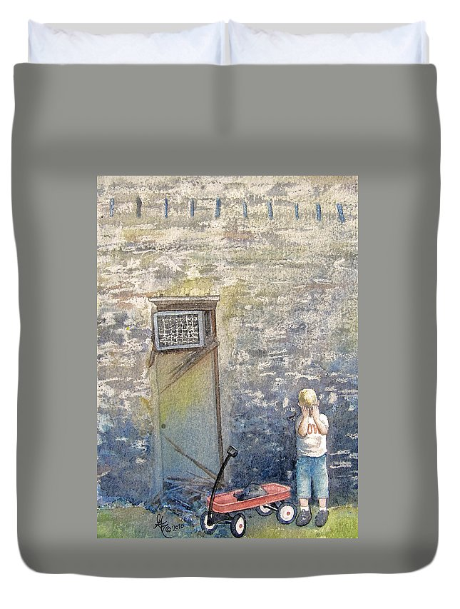 Child Duvet Cover featuring the painting Alone by Gale Cochran-Smith