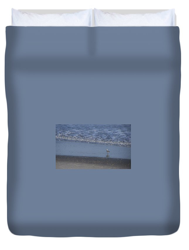 Ocean Duvet Cover featuring the photograph Alone In The Sand by Teresa Mucha
