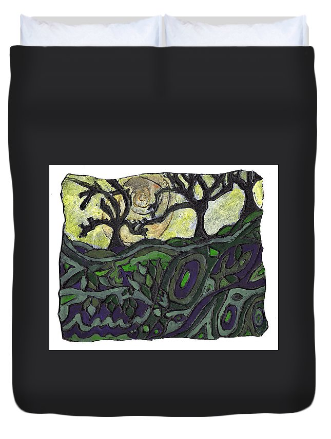 Woods Duvet Cover featuring the painting Alone In The Woods by Wayne Potrafka