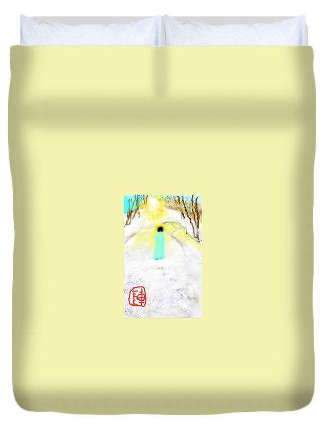 Landscape. Winter. Snow. Figure Duvet Cover featuring the digital art Alone In Thought by Debbi Saccomanno Chan