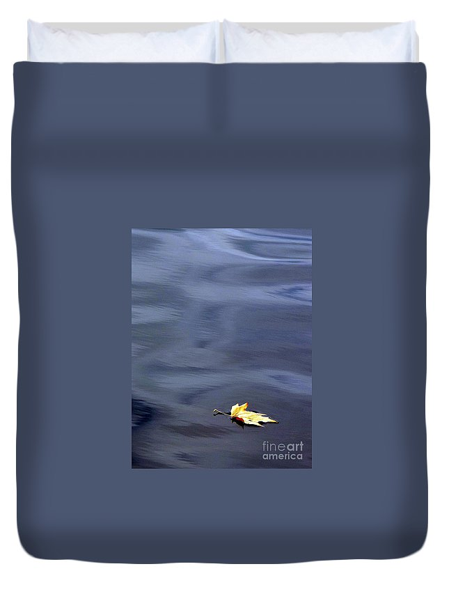 River Duvet Cover featuring the photograph Alone by Jo Hoden