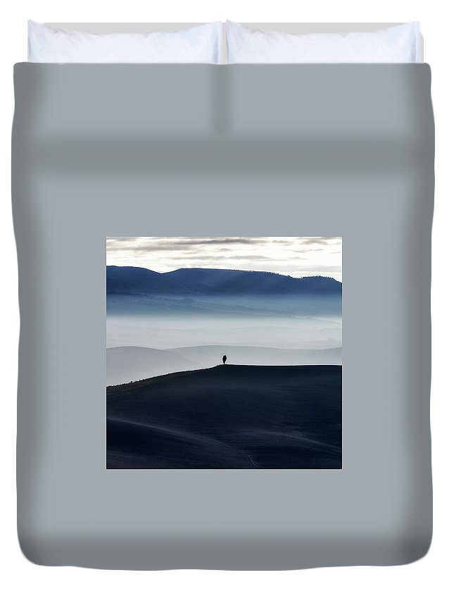 Land Duvet Cover featuring the photograph Alone by Marco Lambardi