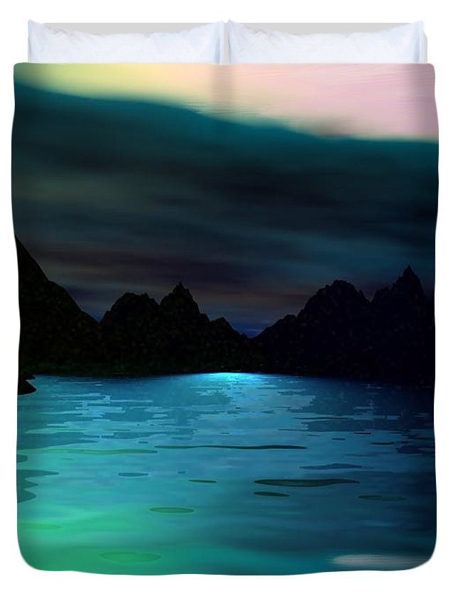 Seascape Duvet Cover featuring the digital art Alone On The Beach by David Lane