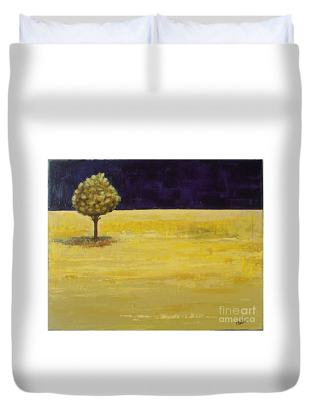 Landscape Duvet Cover featuring the painting Alone In The Night by Vesna Antic