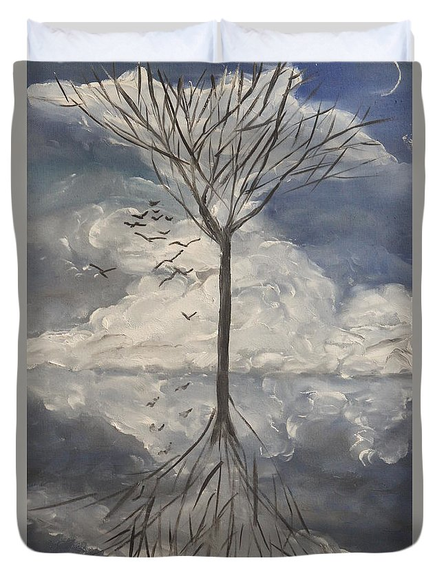 Tree Reflection Clouds Sky Birds Duvet Cover featuring the painting Alone Tree by Vladimir Moisejevs