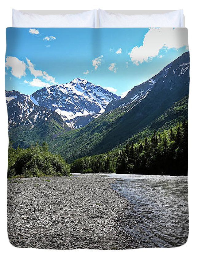 Eagle River Duvet Cover featuring the photograph Along Eagle River- Eagle River, Alaska by Amber D Hathaway Photography