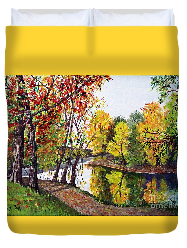 Blanchard River Duvet Cover featuring the painting Along The Blanchard by Nancy Cupp