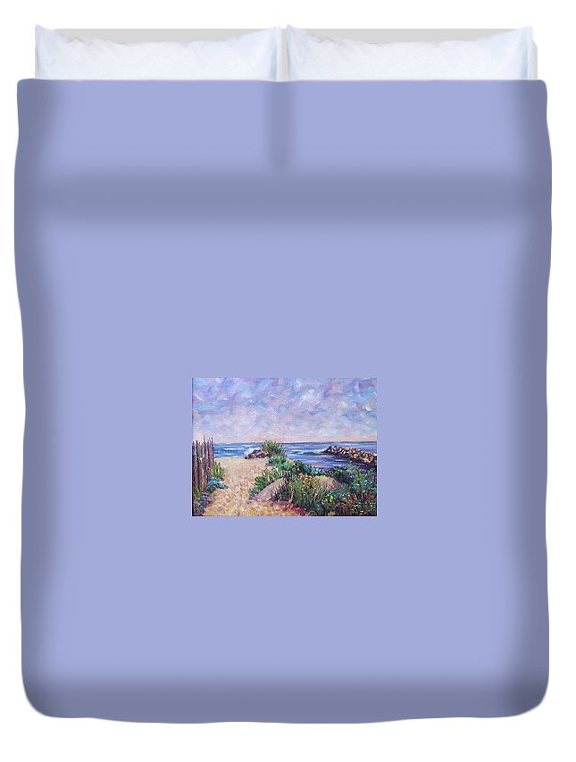 Shore Duvet Cover featuring the painting Along The Breachway Rhode Island by Richard Nowak