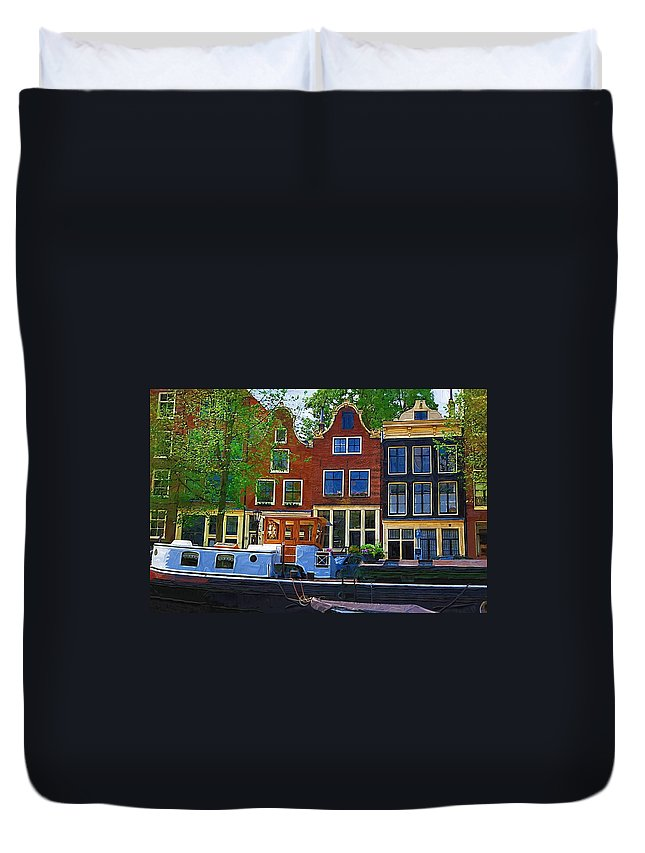 Amsterdam Duvet Cover featuring the photograph Along The Canal by Tom Reynen
