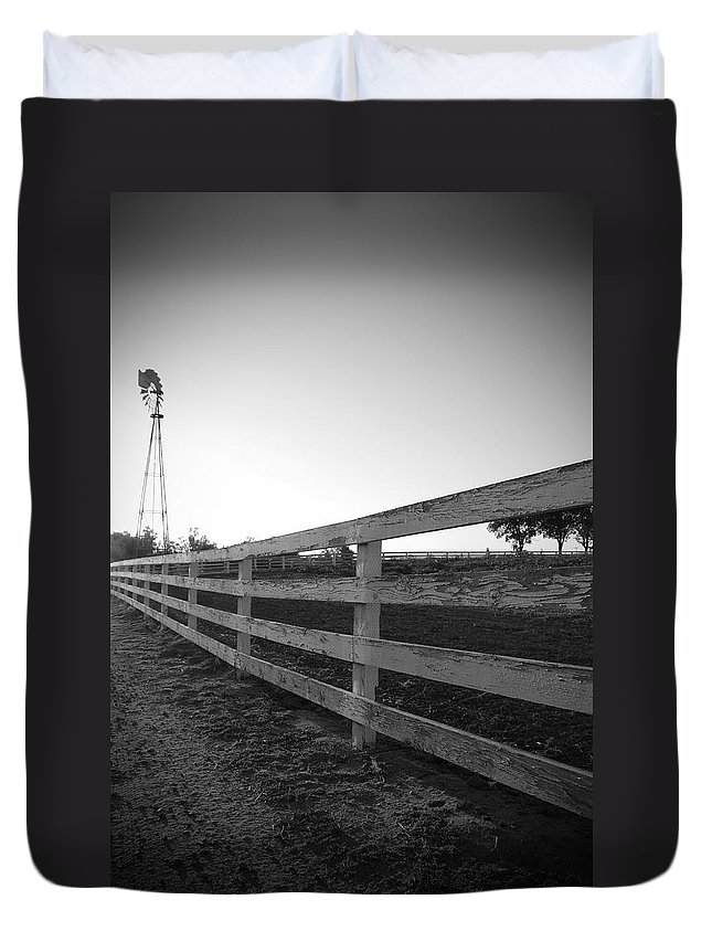 Fence Farm Windmill Black And White Landscape Photograph Rustic Duvet Cover featuring the photograph Along The Fence by Kelly Wade