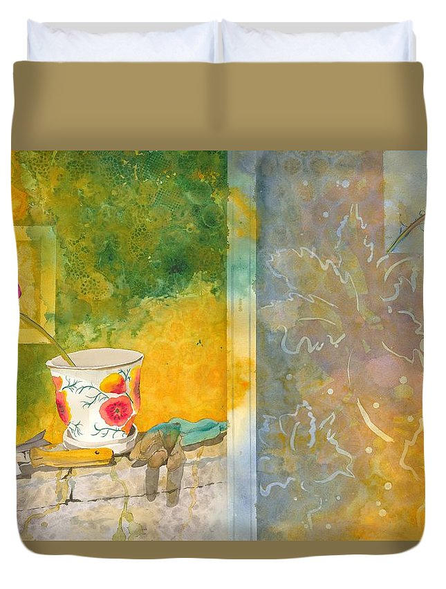 Garden Duvet Cover featuring the painting Along The Garden Wall by Jean Blackmer