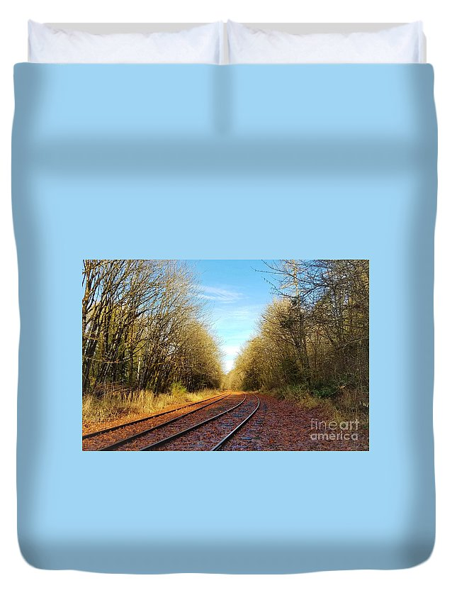 Old Railroad Duvet Cover featuring the photograph Along The Old Railroad by Jane Powell