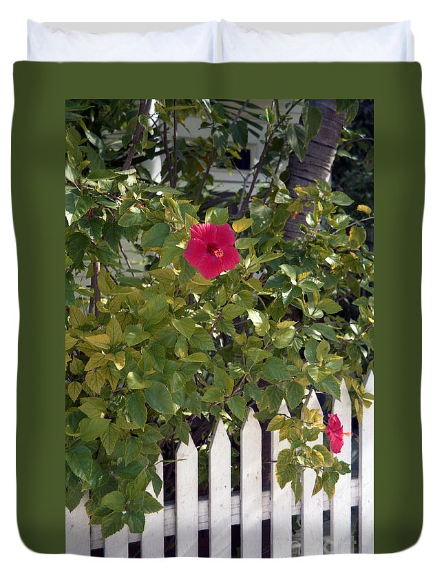 Azelea Duvet Cover featuring the photograph Along The Picket Fence by Richard Rizzo