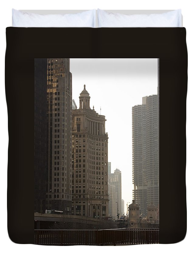 Chicago Windy City River Bridge Building Skyscraper Tall High Big Metro Urban Duvet Cover featuring the photograph Along The River by Andrei Shliakhau